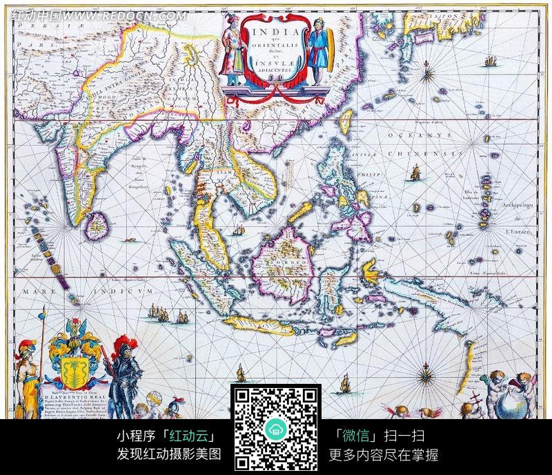 手绘彩色的怀旧航海地图