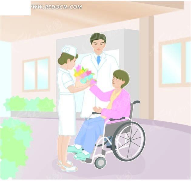 病人给护士献花矢量图_卡通形象
