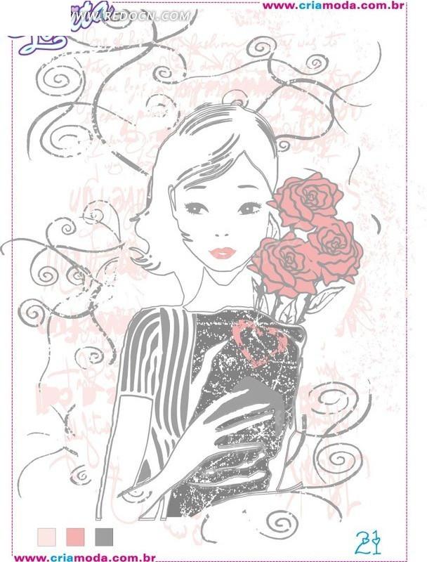 615451)_印花图案_花纹边框_矢量素材; 洛丽塔图案手捧鲜花的女孩矢量