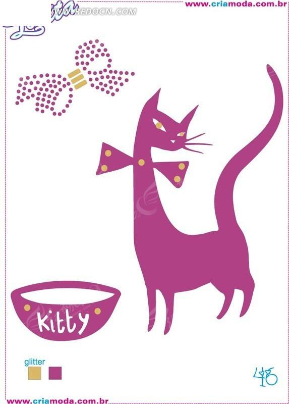可爱 手绘 猫咪 蝴蝶结 线描 碗卡通尺量素材