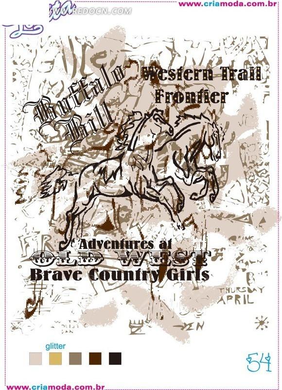 西部风格插画手绘奔跑的马线形涂鸦尺量背景