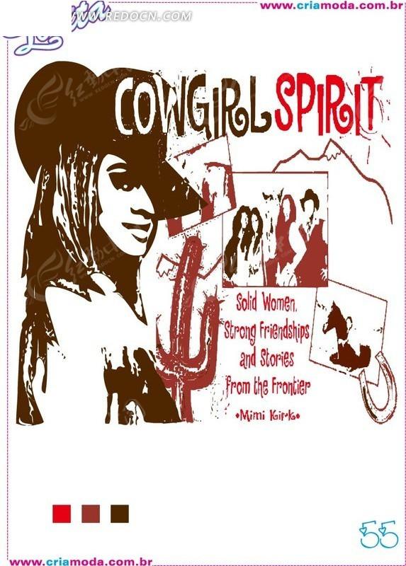 西部戴帽子女人插图手绘线描仙人掌尺量背景素材