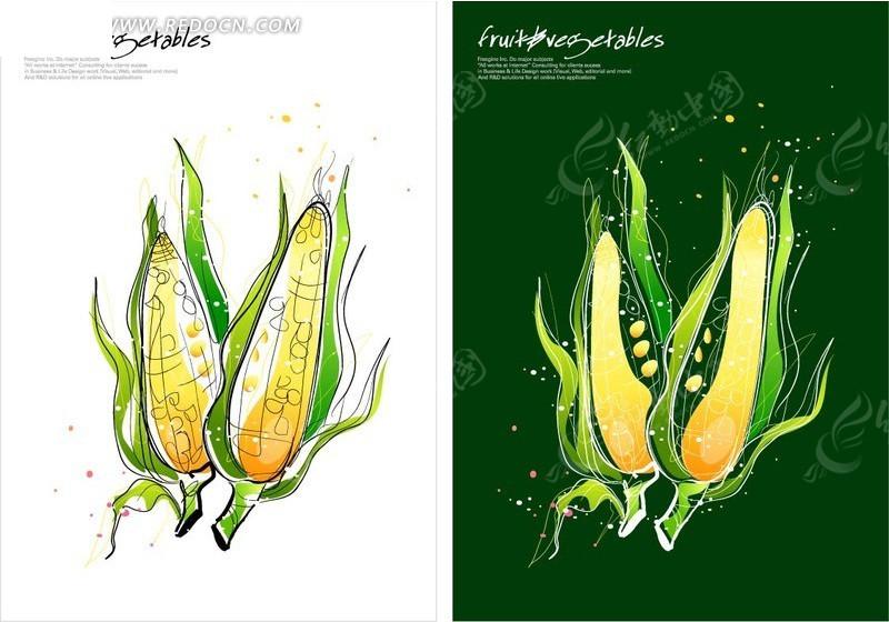 手绘玉米图案