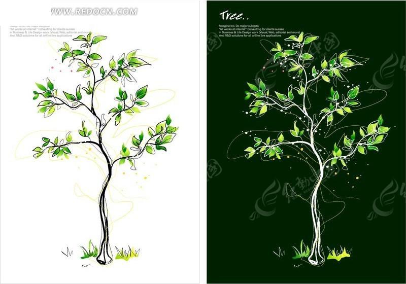 手绘插画弯曲小树