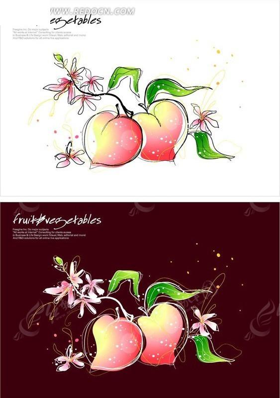 手绘风格的水蜜桃插画