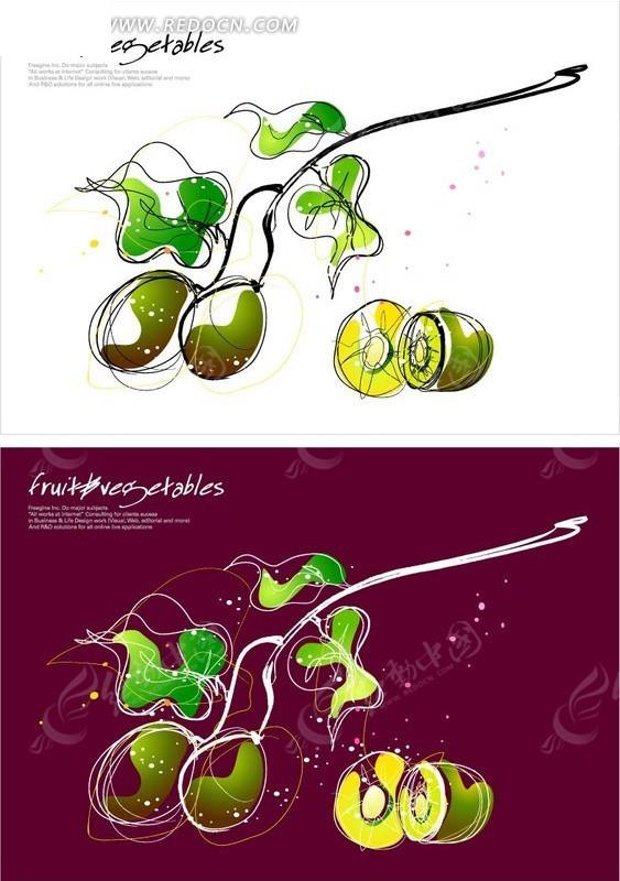 手绘 猕猴桃 图案花卉 水果 抽象 叶子 矢量 ai 花纹 花纹素材 花边