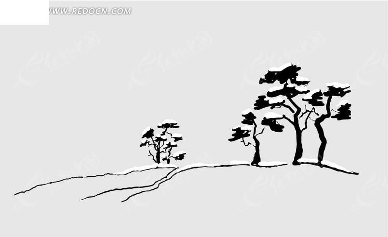 松树的立面手绘画法