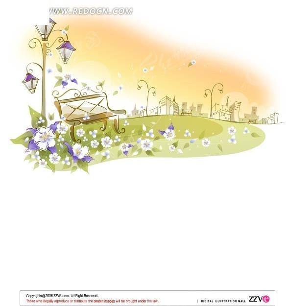 矢量素材   花纹边框; 手绘精美花朵路灯和长靠椅花纹背景; 梦幻卡通