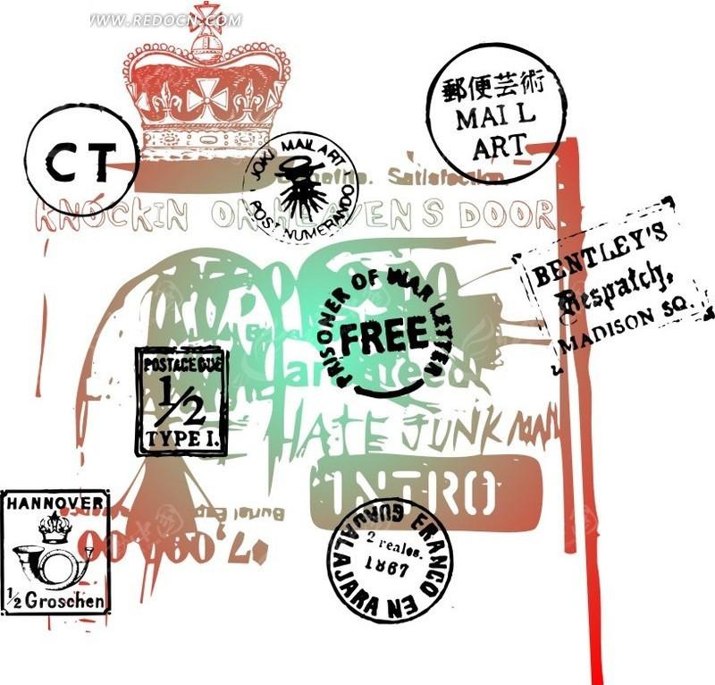 免费素材 矢量素材 花纹边框 花纹花边 手绘皇冠邮戳图标底纹背景