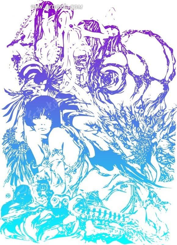 孔雀 时尚花纹 冷色调 矢量 cdr 性感 背景 插画 装饰 花纹 花纹素材图片