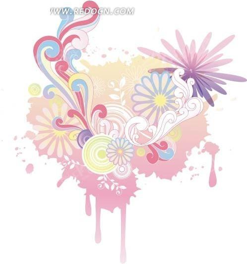 可爱花纹背景矢量素材图片矢量图