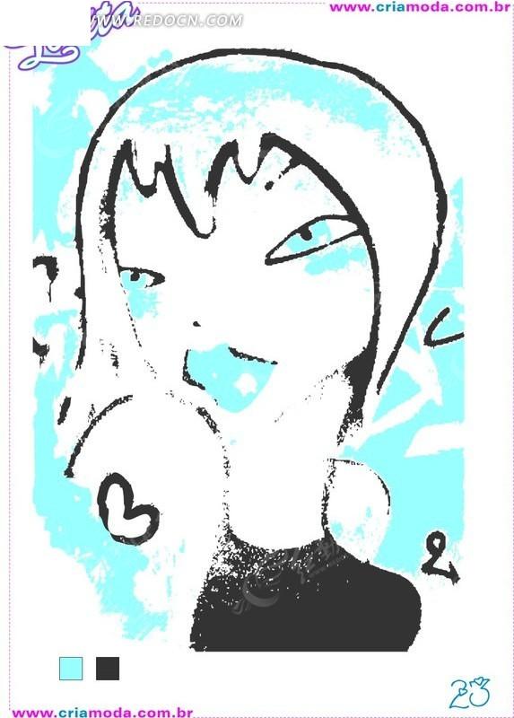 时尚插画美女头像线描卡通美女头像
