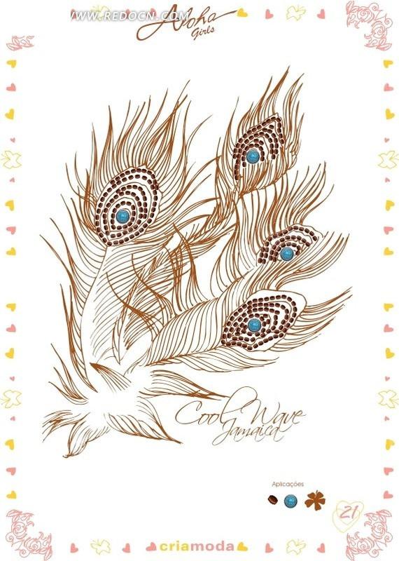 线描孔雀羽毛尺量背景素材
