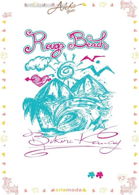 手绘海报创意; 海浪中的山矢量图(编号:622985); 积分兑换手写海报