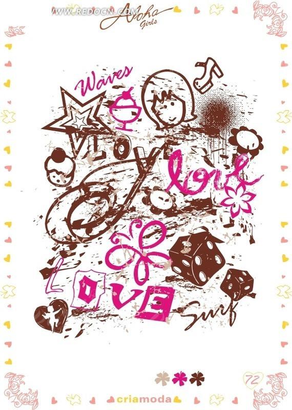 复古涂鸦卡通头像心形线描素材