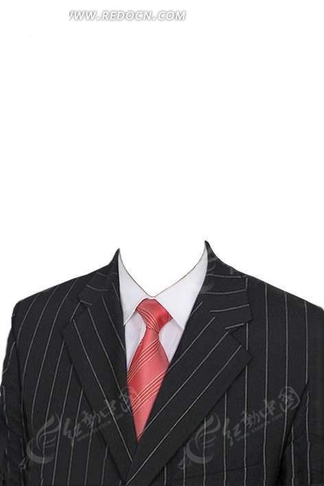 条纹西装红条纹领带证件照模板
