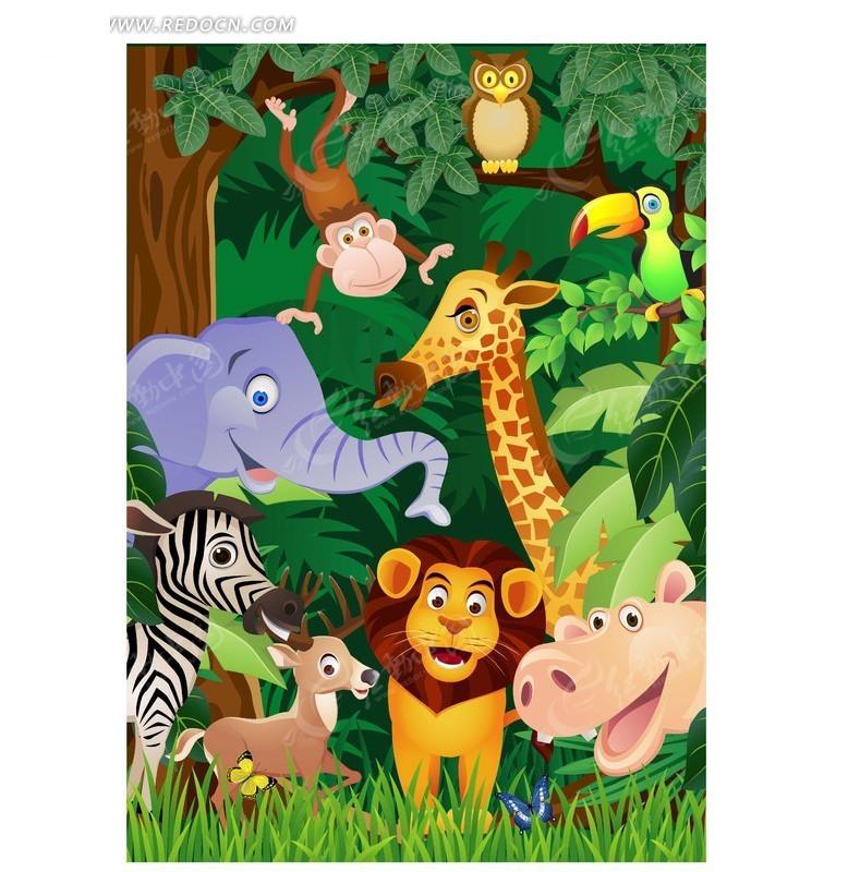 卡通森林动物插画矢量素材