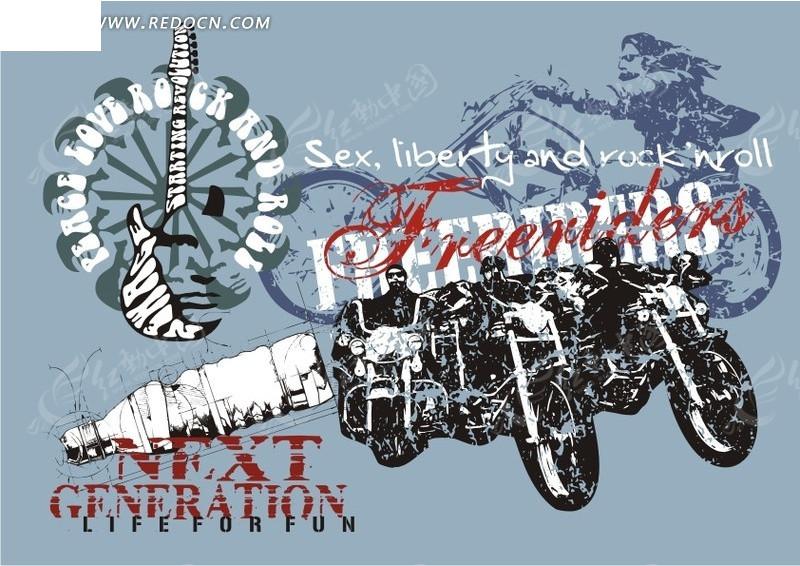 摩托车 车手 人物 涂鸦 流行元素 矢量 矢量素材 cdr