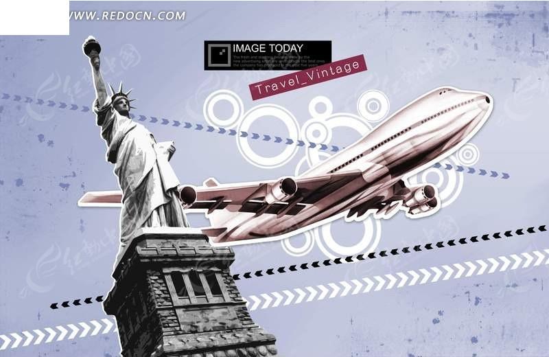 自由女神雕塑前的飞机素材psd免费下载_生活百科