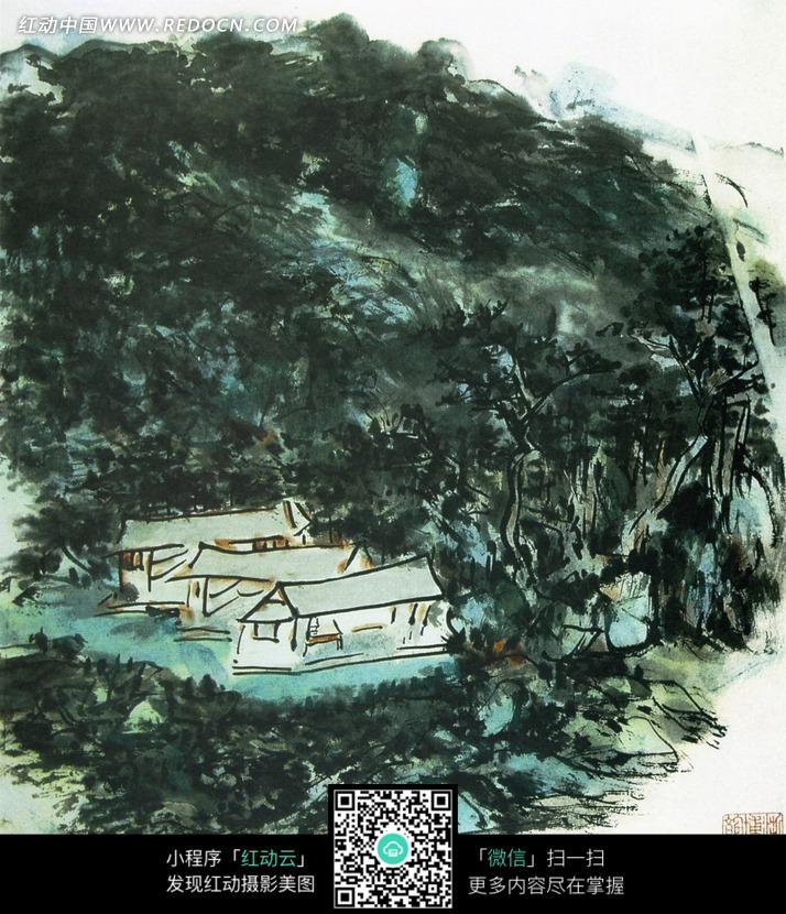 中国风景彩墨画图片