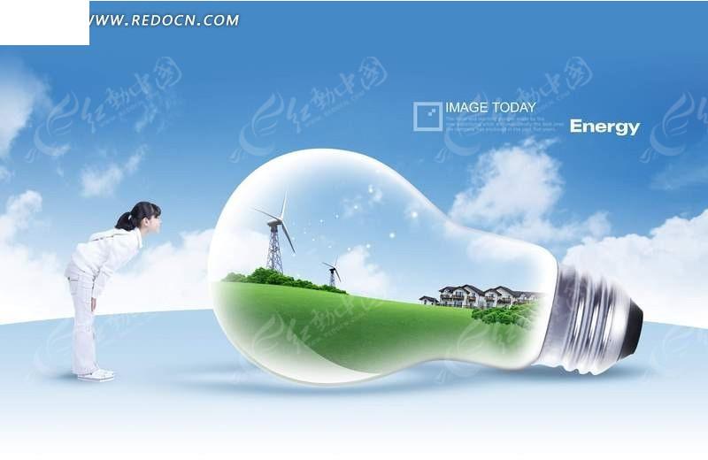 燈泡中的草地觀察燈泡的小女孩_風景
