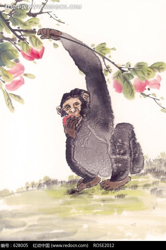 中国写意动物-正在吃桃子的猴子