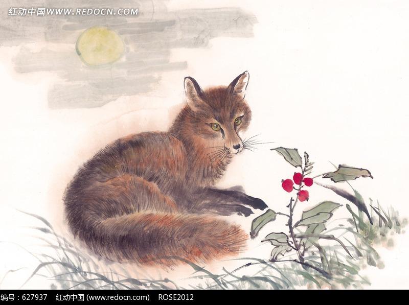 中国写意动物-狐狸和野果图片