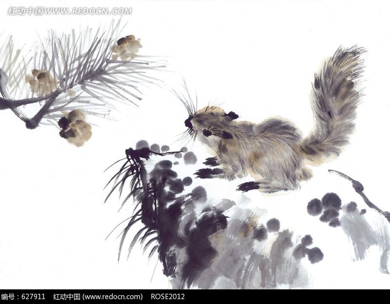 中国写意动物-松树和松鼠