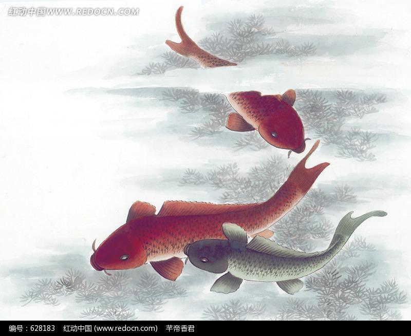 免费素材 图片素材 生物世界 水中动物 水中鲤鱼水彩画