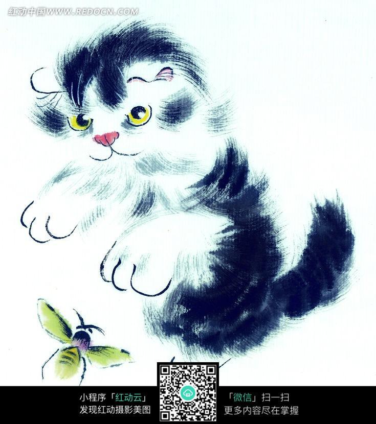 中国写意动物-黑猫扑蜜蜂图片