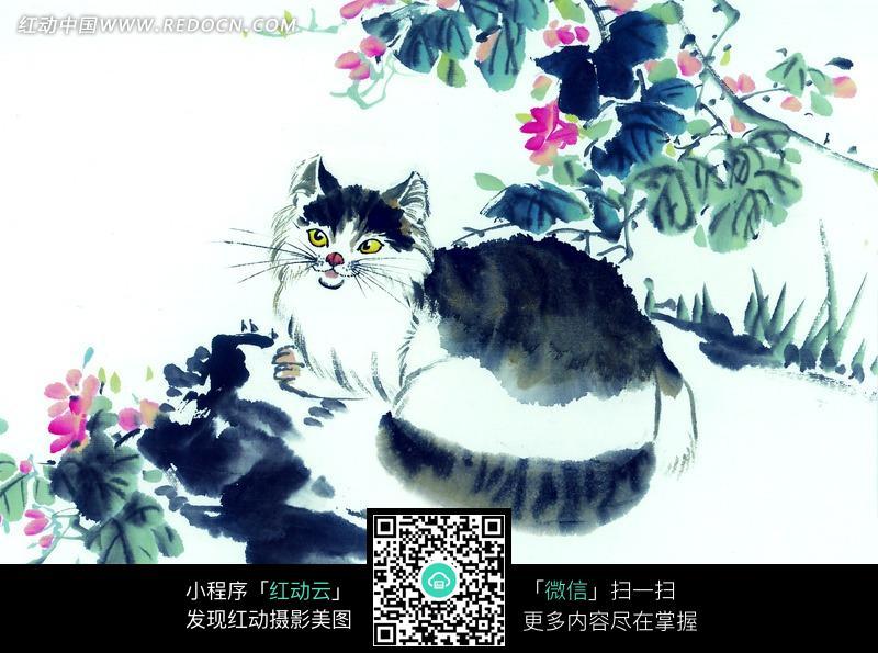 中国写意动物-卧于石上的猫图片