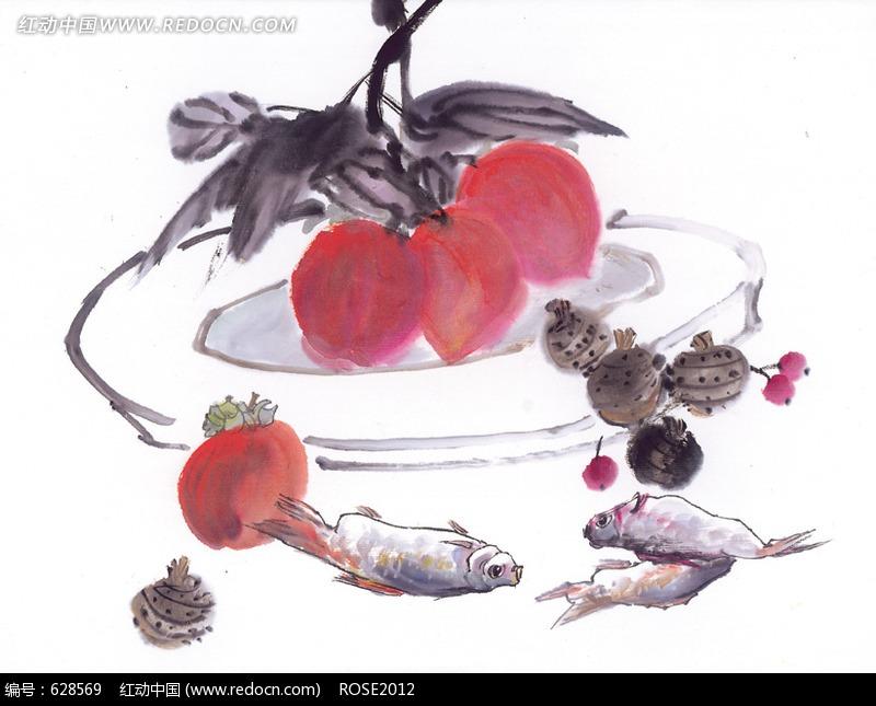 水果鱼水墨画图片_其他图片图片