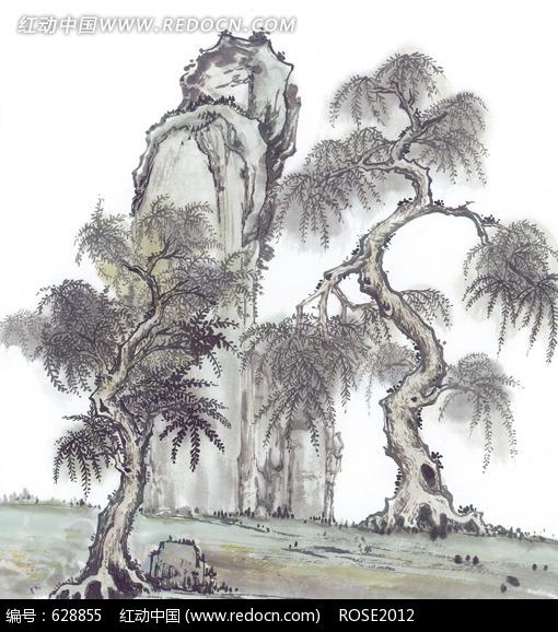 水墨画柳树假山图片图片