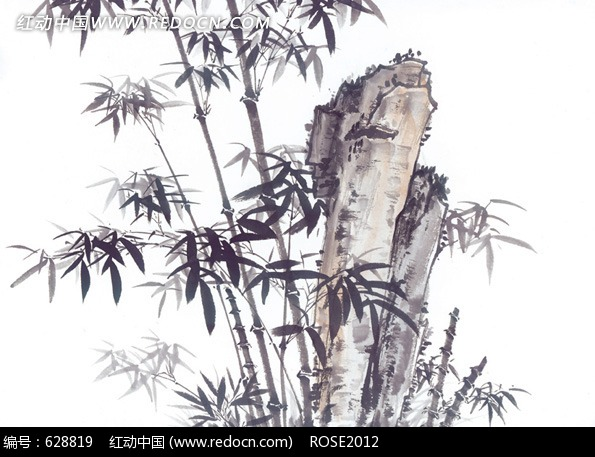 中国风格竹子水墨画