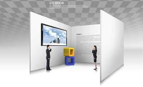 站在展示墙中打电话的男女psd素材图片