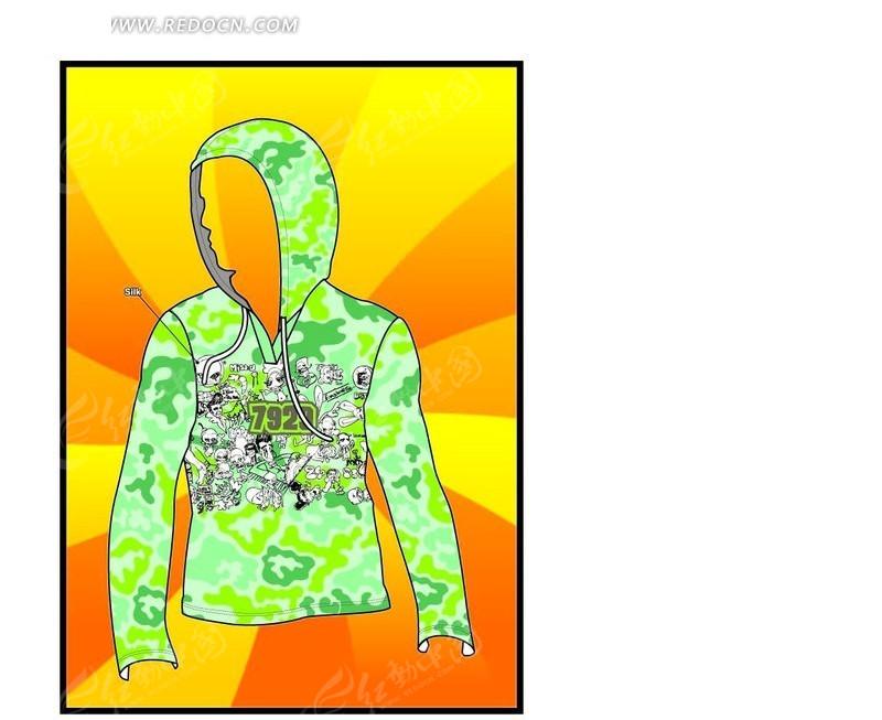 绿色卡通人物t恤矢量矢量图