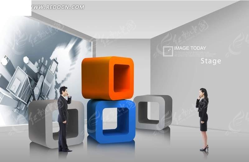 回形立方体框和打电话的男女psd分层素材图片