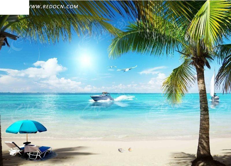 免费素材 psd素材 psd分层素材 风景 夏日的海滩椰树psd分层素材  请