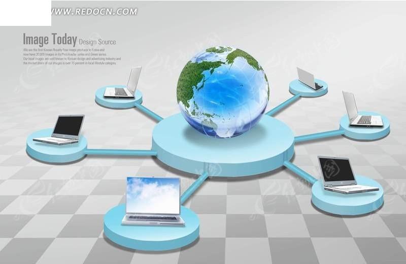地球和笔记本电脑展示台