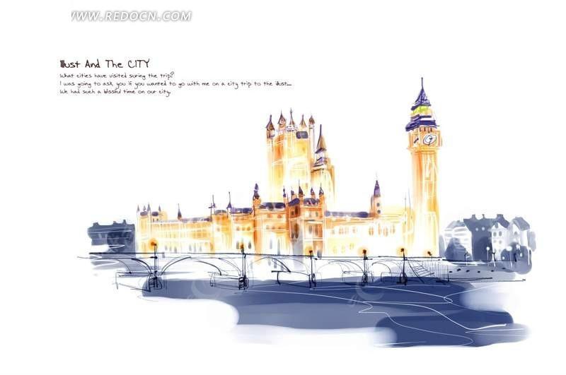 彩色手绘伦敦街景