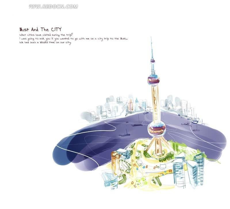 手绘风格上海东方明珠插画设计素材