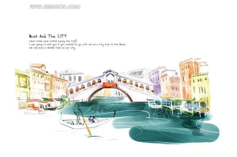 威尼斯水城风景手绘插画