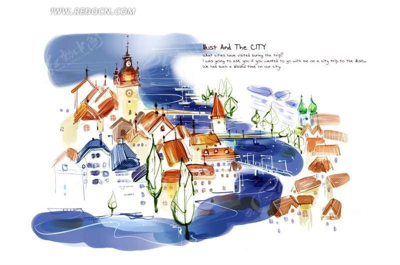 手绘城市风景插画