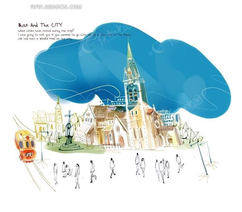 彩色手绘楼房与线描人群psd素材