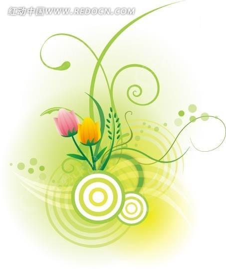 郁金香花朵/圆形/曲线构成的图片图片