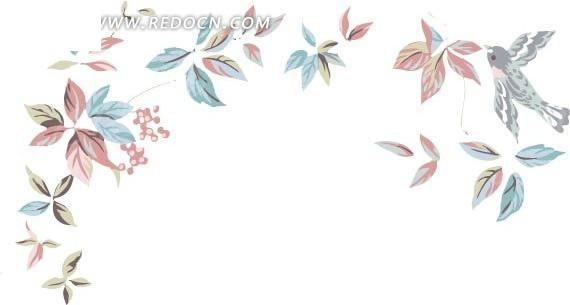 手绘飞鸟和叶子矢量花纹