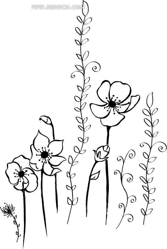 矢量手绘花朵插画素材矢量图