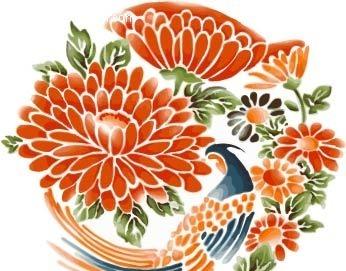 中国传统 花纹 装饰花纹 孔雀 动物 植物 水彩 绘画 手绘 花朵 绿叶