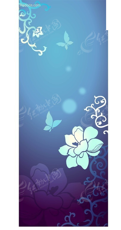 蓝色矢量花纹蝴蝶背景素材ai免费下载_花纹花边