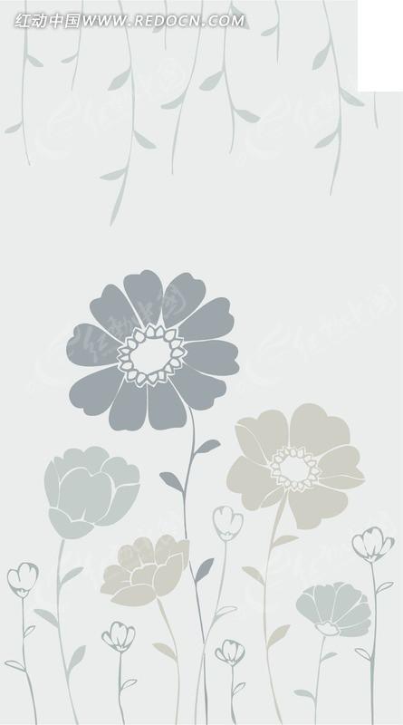 浅灰蓝清新菊花花纹矢量图片